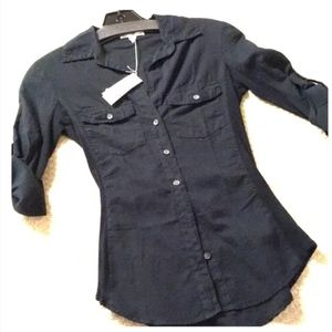 James Perse button down black size 0 NWT